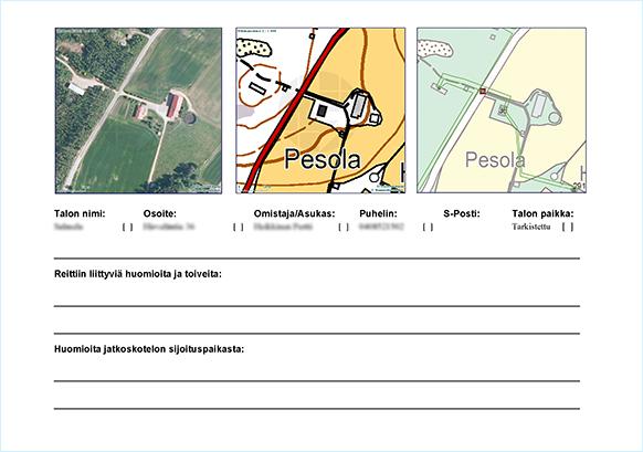 Suunnittelija kerää kotitalouksia, niiden reititystä ja talon asennustöitä koskevaa tietoa